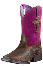 Ariat Childrens Crossroads Square Toe Cowboy Boots - Distressed Brown/Fucshia