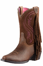 Ariat Childrens Snip Toe Fringe Cowboy Boots - Distressed Brown/Chocolate