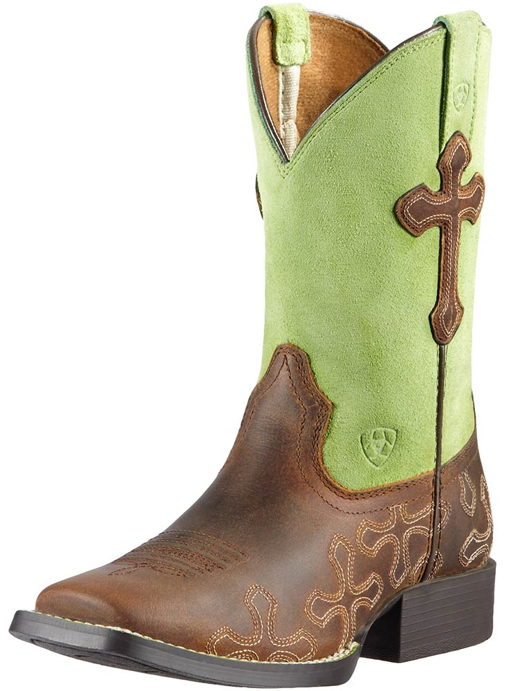 Ariat Childrens Square Toe Crossroads Cowboy Boots - Powder Brown/Lime (Closeout)