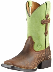 Ariat Childrens Square Toe Crossroads Cowboy Boots - Powder Brown/Lime