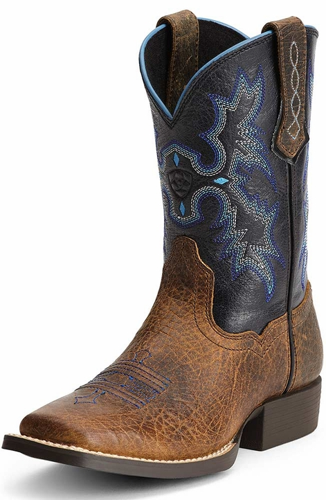 Ariat Childrens Tombstone Square Toe Cowboy Boots - Earth/Black