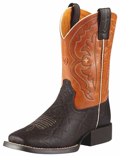 Ariat Kid's Quickdraw Cowboy Boots - Chocolate Elephant Print/ Mandarin