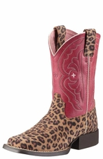 Ariat Kid's Quickdraw Cowgirl Boots - Leopard Print/ Watermelon