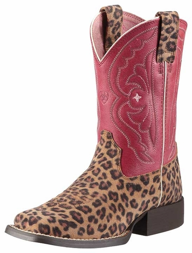 Ariat Kid's Quickdraw Cowgirl Boots - Leopard Print/ Watermelon (Closeout)