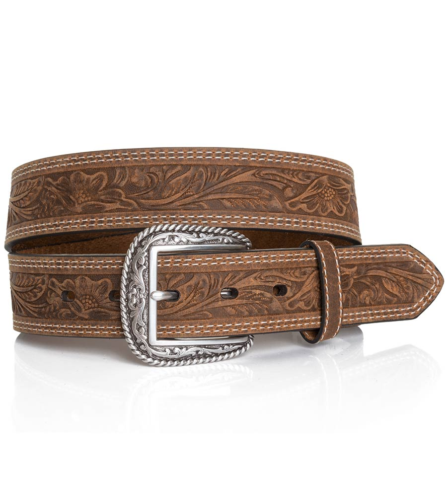"Ariat Men's 1 1/2"" Tooled Double Stitch Belt - Brown"