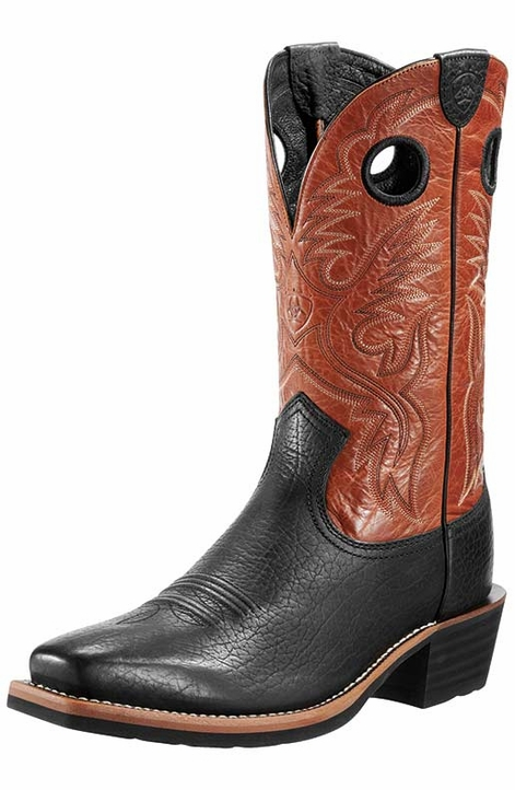 "Ariat Men's 12"" Heritage Roughstock Cowboy Boots - Buckboard Black/ Burnt Clay"