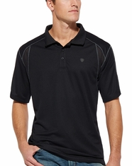 Ariat Men's AC Tek Short Sleeve Solid Polo Shirt - Black