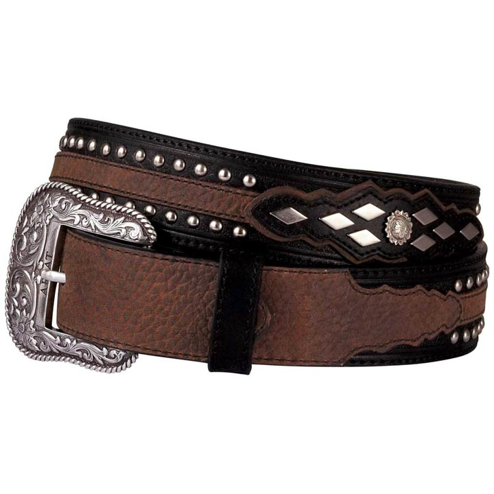 Ariat Men's Ariat Austin Tooled Leather Belt with Studs - Black/Brown