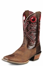 Ariat Men's Crossfire Cowboy Boots - Weathered Brown/Distressed Brown (Closeout)