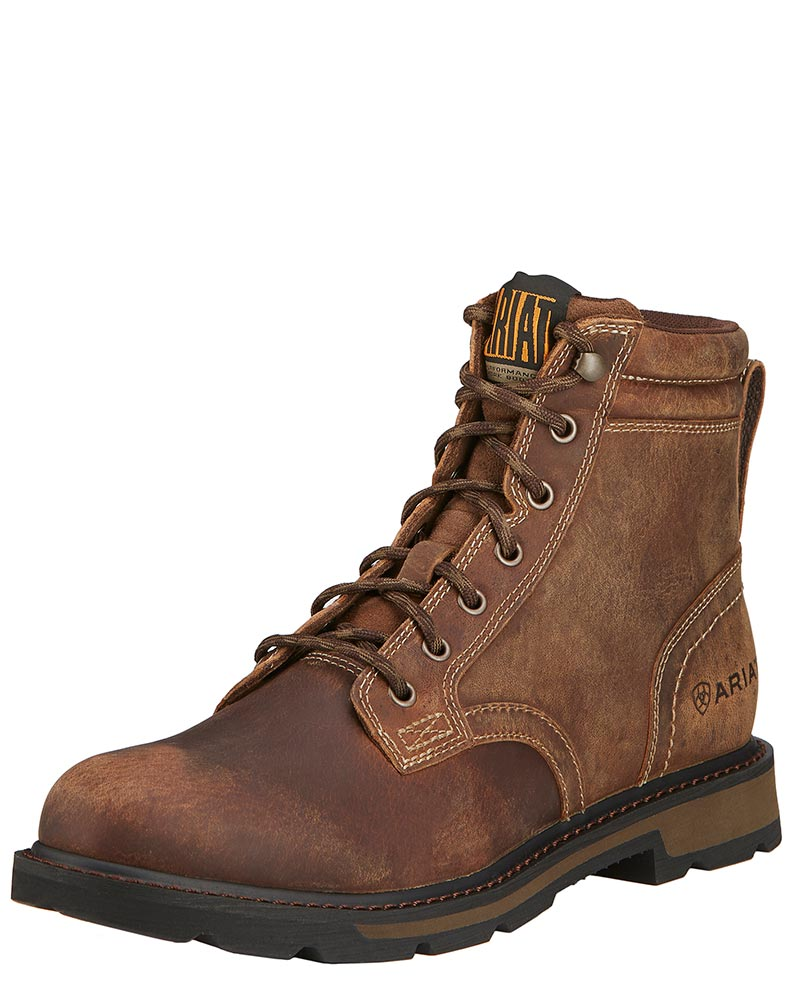 "Ariat Men's Groundbreaker Round Toe 6"" Lace Up Work Boots - Brown"