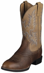 "Ariat Men's Heritage Stockman 11"" Cowboy Boots - Barrel Brown"