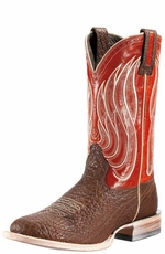 Ariat Men's High Call Cowboy Boots - Chocolate Shoulder/ Real Red  (Closeout)
