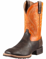 Ariat Men's Hybrid Rancher Boots - Grained Chocolate/Burnt Orange