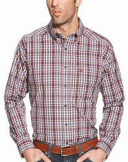 Ariat Men's Long Sleeve Classic Fit Plaid Button Down Shirt - Red