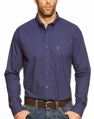 Ariat Men's Long Sleeve Deacon Print Button Down Shirt - Medieval Blue