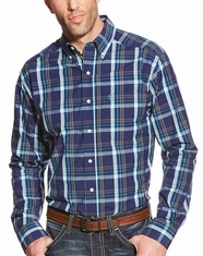 Ariat Men's Long Sleeve Fitted Plaid Button Down Shirt - Blue