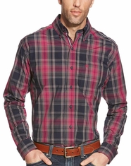 Ariat Men's Long Sleeve Fitted Plaid Button Down Shirt - Grey