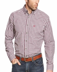 Ariat Men's Long Sleeve Fitted Plaid Button Down Shirt - Pink