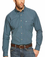 Ariat Men's Long Sleeve Kimball Plaid Button Down Shirt - Peacoat