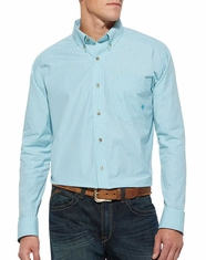 Ariat Men's Long Sleeve Monty Check Button Down Shirt - Angel Blue