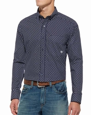 Ariat Men's Long Sleeve Print Button Down Shirt - Navy (Closeout)