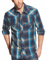Ariat Men's Long Sleeve Retro Fit Plaid Snap Shirt - Blue