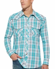 Ariat Men's Long Sleeve Sheldon Snap Shirt - Mod Turquoise (Closeout)