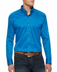 Ariat Men's Long Sleeve Solid Button Down Shirt - Mykonos Blue (Closeout)