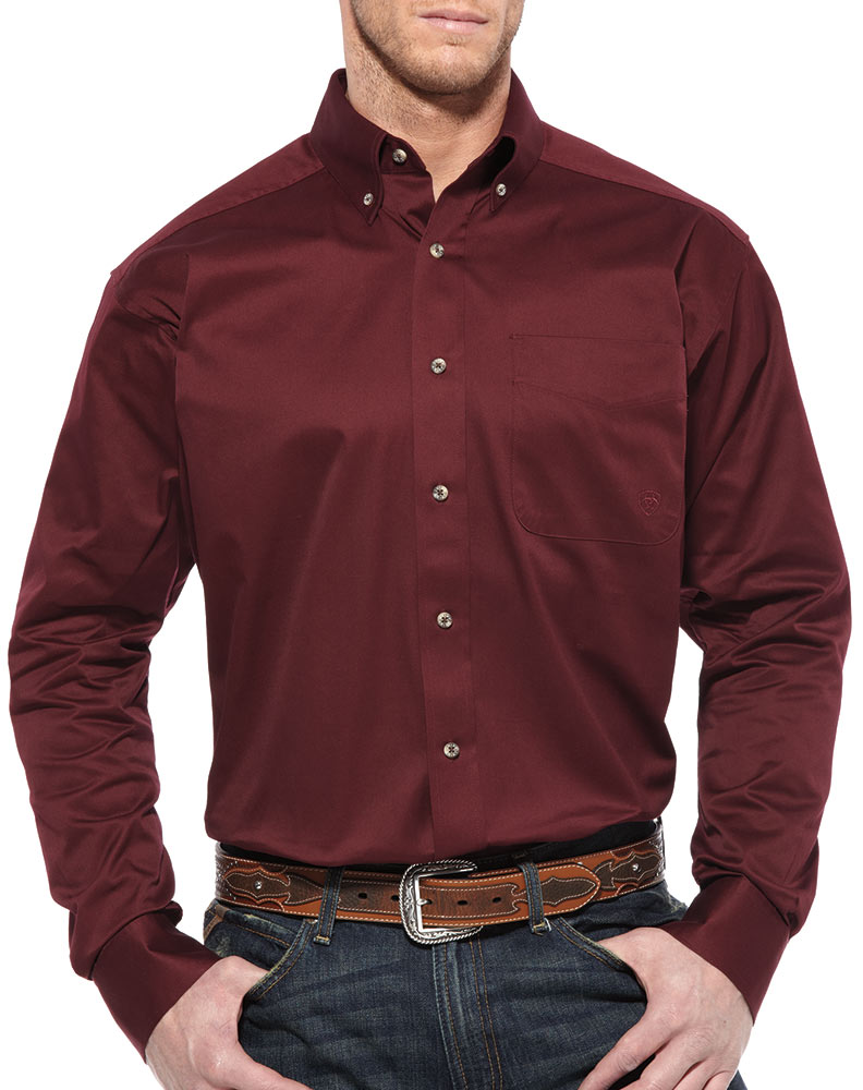 Men's Long Sleeve Solid Twill Button Down Shirt - Burgundy