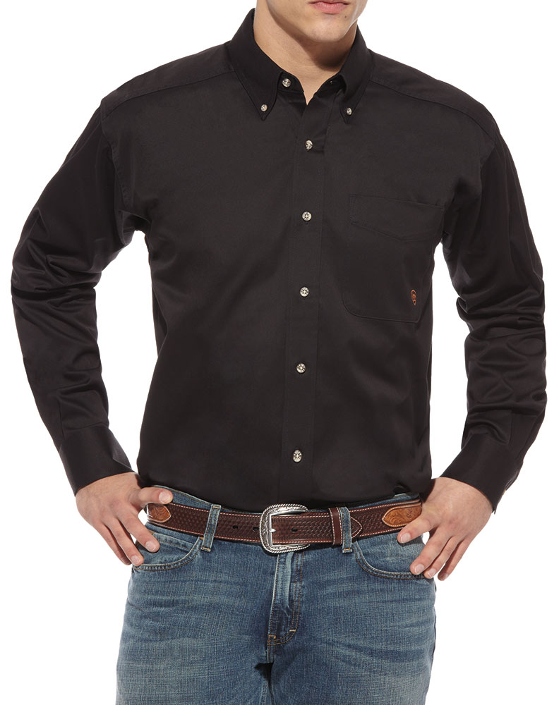 Men's Long Sleeve Solid Twill Shirt - Black