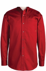 Ariat Men's Long Sleeve Western Solid Twill Button Down Shirt - Red