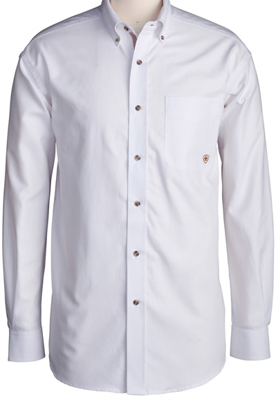 Ariat Men's LS Western Solid Twill Button Down Shirt (White)