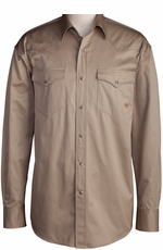 Ariat Men's Long Sleeve Western Solid Twill Snap Shirt - Khaki (Closeout)