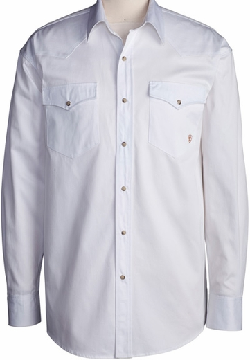 Ariat Men's Long Sleeve Western Solid Twill Snap Shirt - White (Closeout)