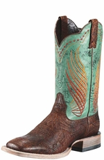 "Ariat Men's Mecate 12"" Square Toe Cowboy Boots - Bunkhouse Brown/ Marbled Teal"