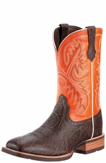 "Ariat Men's Quickdraw 11"" Cowboy Boots - Chocolate Elephant Print/Mandarin"