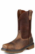 "Ariat Men's Rambler 10"" Steel Toe Pull On Work Boots - Earth/Brown"