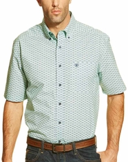 Ariat Men's Short Sleeve Hallywell Print Button Down Shirt - Green