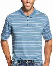 Ariat Men's Short Sleeve Player Tek Striped Polo Shirt - Teal