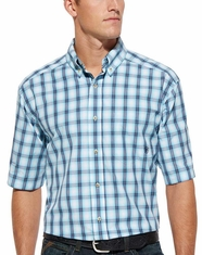 Ariat Men's Short Sleeve Rhett Button Down Shirt - Robins Egg Blue (Closeout)