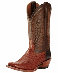 Ariat Men's Super Stakes Full Quill Ostrich Narrow Square Toe Boots - Brandy/Royal Tobacco