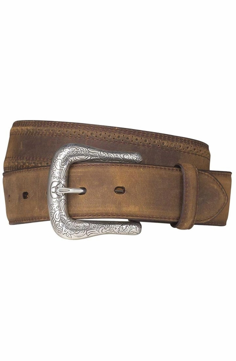 Ariat Men's Western Belt with Perforated Edge - Distressed Brown