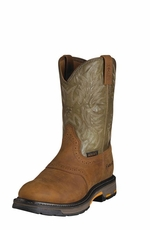 Ariat Men's Work Hog Pull On Composite Toe Boots - Aged Bark/Army Green (Closeout)