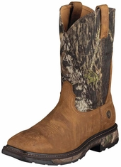 "Ariat Men's Workhog 11"" Western Work Boots - Aged Bark/ Camo"
