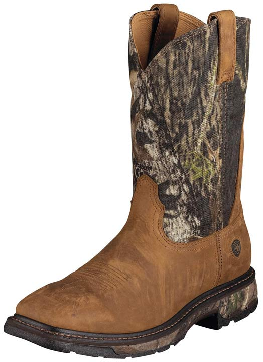 "Ariat Men's Workhog 11"" Western Work Boots - Bark/Camo"