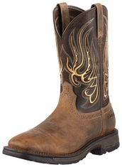 Ariat Men's Workhog Mesteno Wide Square Composite Safety Toe Work Boots - Earth/Coffee (Closeout)