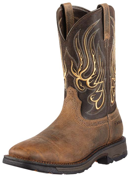 Ariat Men's Workhog Mesteno Wide Square Composite Safety Toe Work Boots - Earth/Coffee