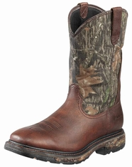 Ariat Men's Workhog Square Toe H20 Boots - Oiled Brown/Mossy Oak