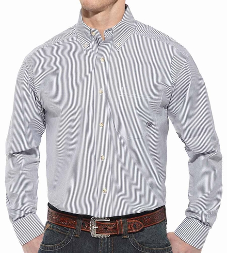 Ariat Mens Balin Long Sleeve Stripe Performance Button Down Western Shirt - Wet Slate (Closeout)