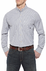 Ariat Mens Balin Long Sleeve Stripe Performance Button Down Western Shirt - Wet Slate
